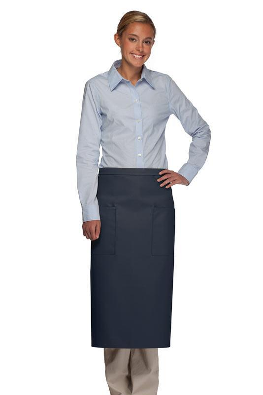 Navy Full Bistro Apron (2 Pockets)