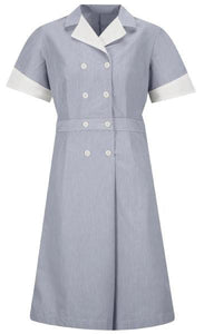 Navy Pincord Double-Breasted Housekeeping Dress