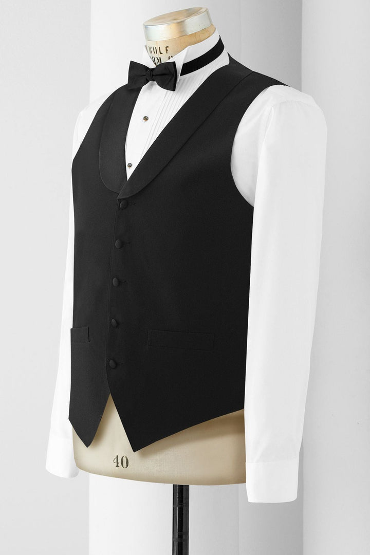 Men's Black With Satin Lapel Vest