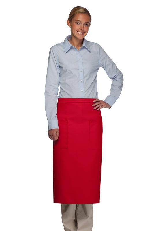 Red Full Bistro Apron (2 Pockets)