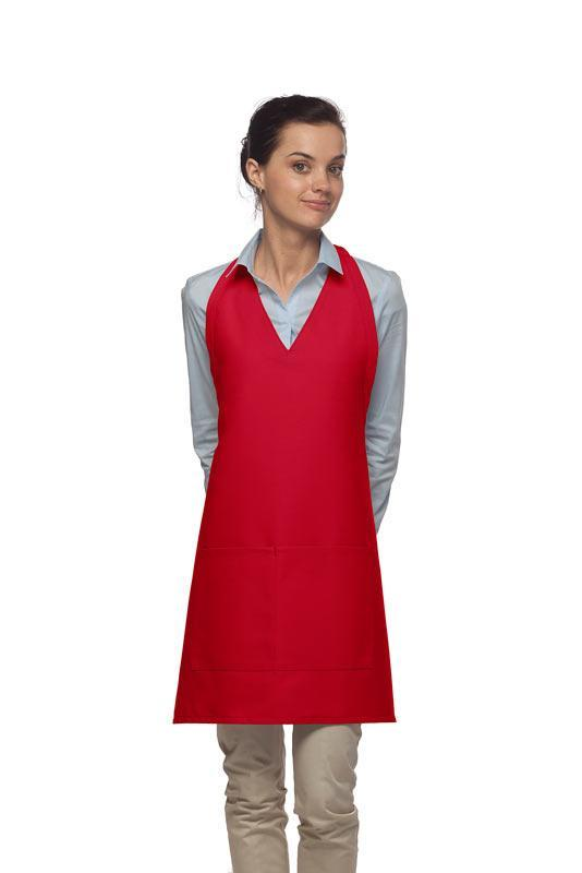 Red 2 Pocket V-Neck Tuxedo Bib Apron