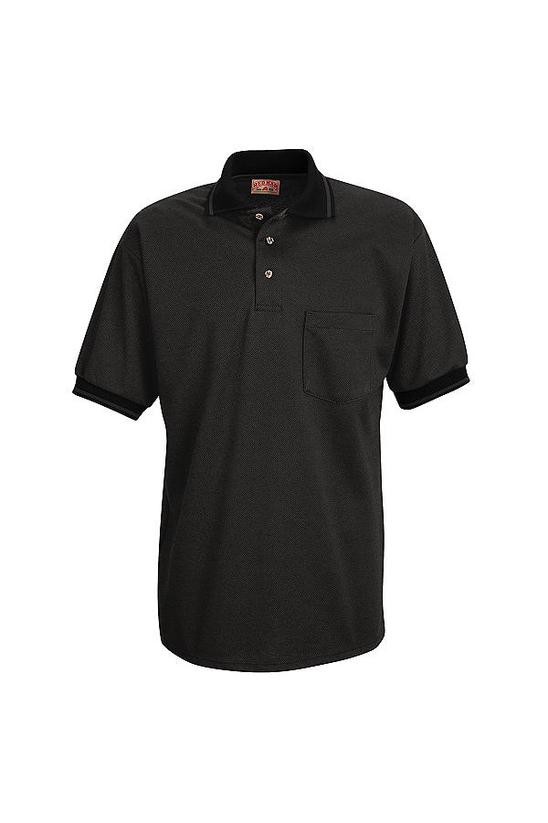Men's Black and Charcoal Short Sleeve Performance Knit Twill Polo