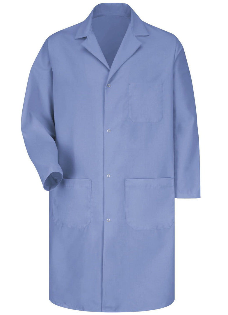 Men's Light Blue 4-Gripper Lab Coat