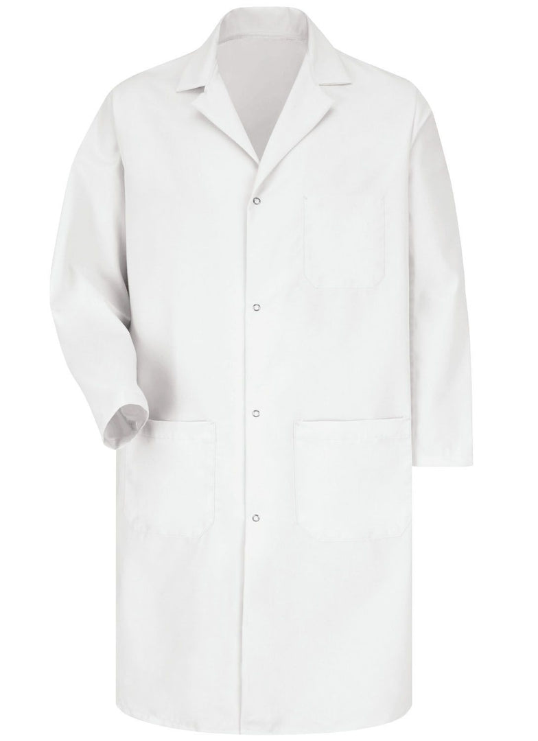 Men's White 4-Gripper Lab Coat