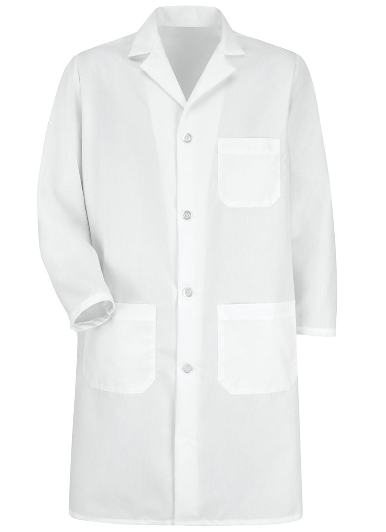 Men's White 4-Button Lab Coat