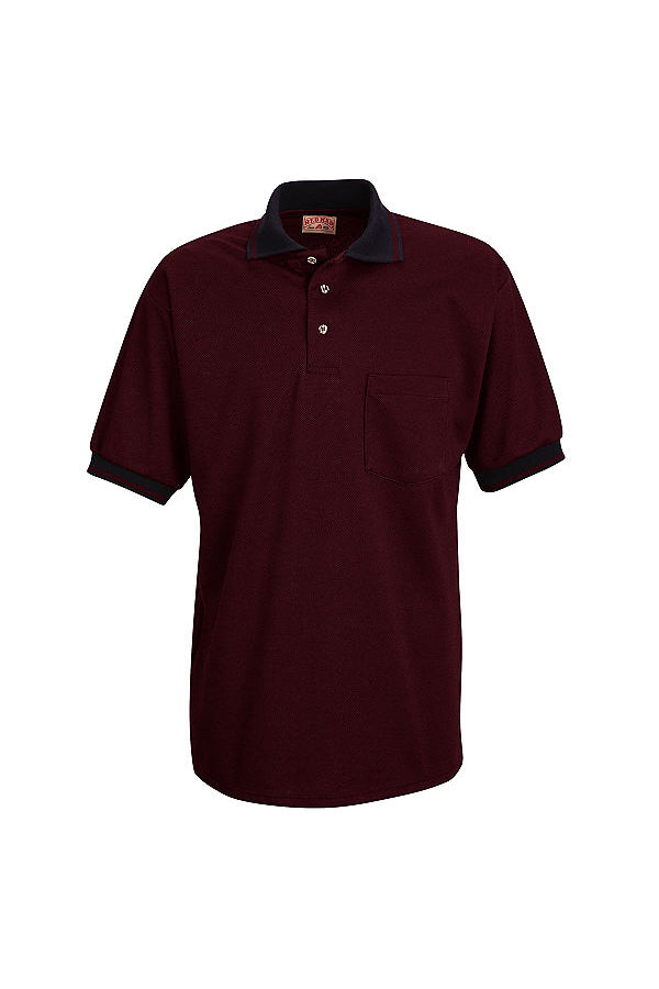 Men's Burgundy and Black Short Sleeve Performance Knit Twill Polo