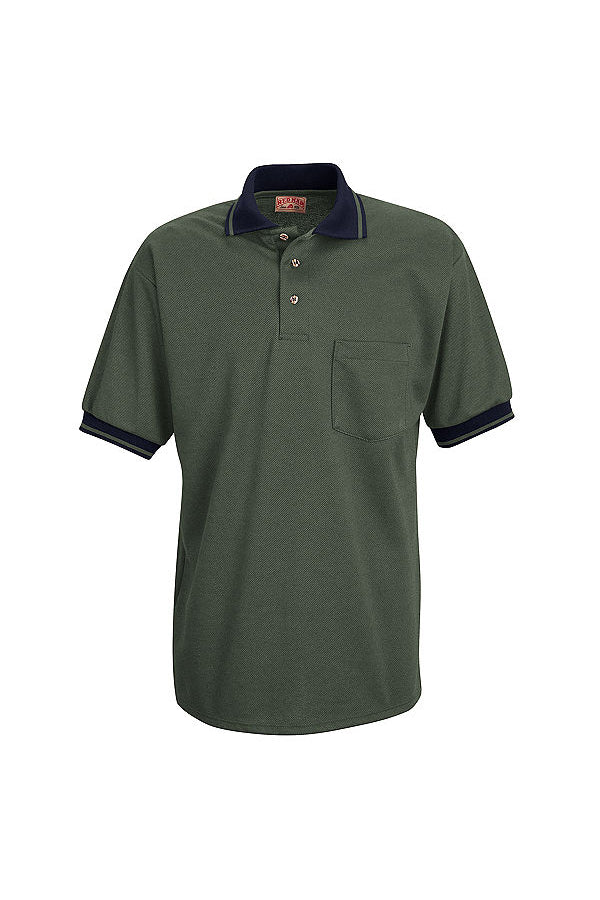 Men's Moss Green and Navy Short Sleeve Performance Knit Twill Polo