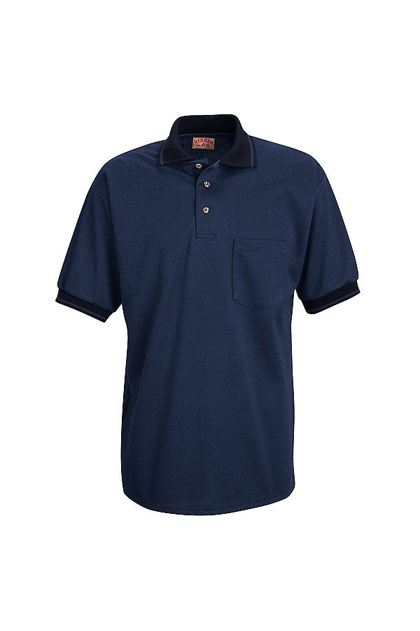 Men's Navy and Medium Blue Short Sleeve Performance Knit Twill Polo