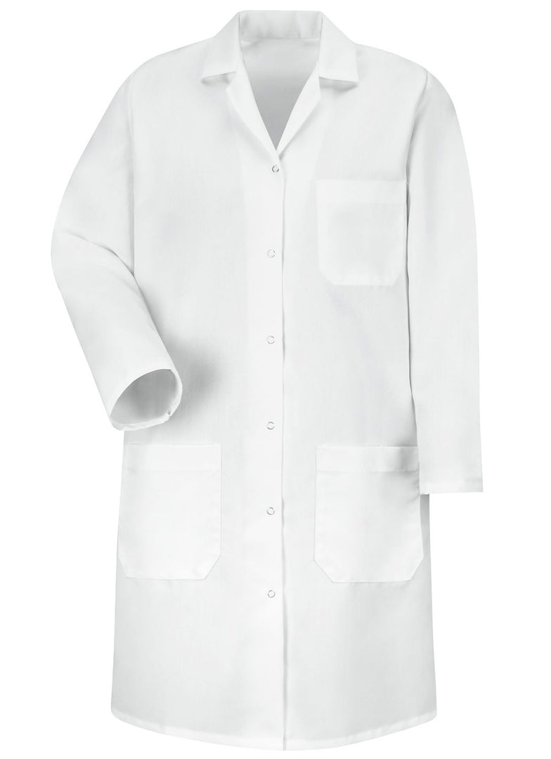 Women's White 6-Gripper Front Lab Coat