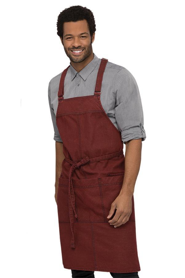 Uptown Cross-Back Red-Navy Bib Apron