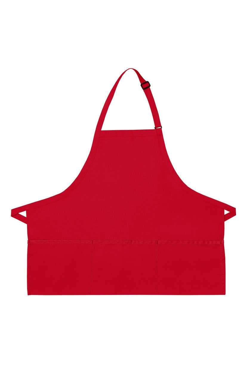 Red Deluxe Bib XL Adjustable Apron (3 Pockets)