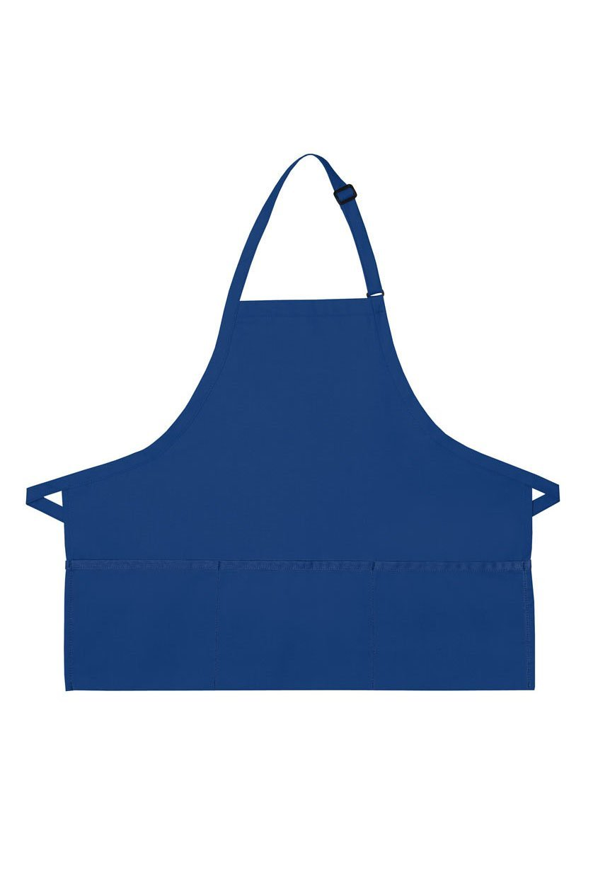 Royal Blue Deluxe Bib XL Adjustable Apron (3 Pockets)