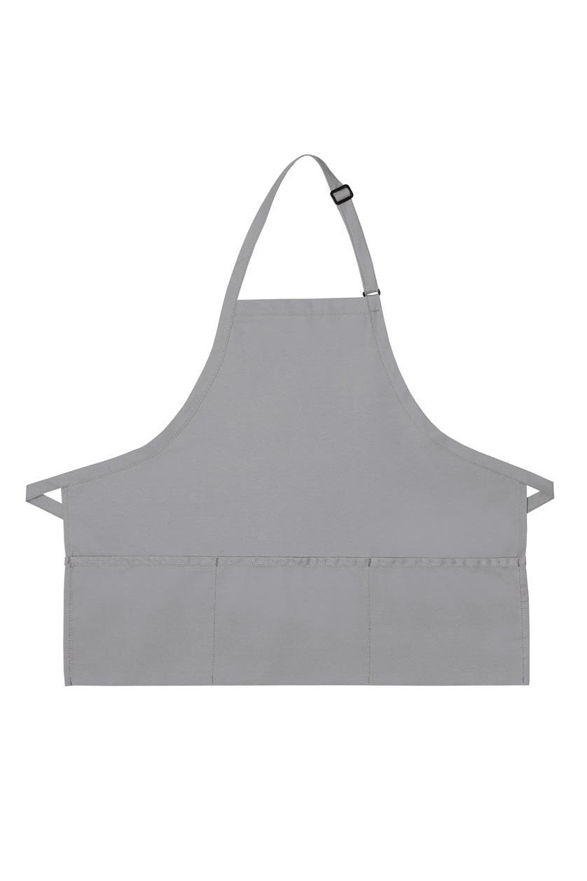 Silver Deluxe Bib XL Adjustable Apron (3 Pockets)