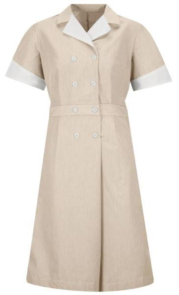 Tan Pincord Double-Breasted Housekeeping Dress