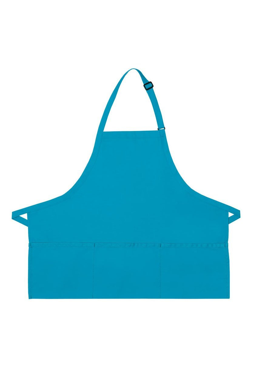 Turquoise Deluxe Bib XL Adjustable Apron (3 Pockets)