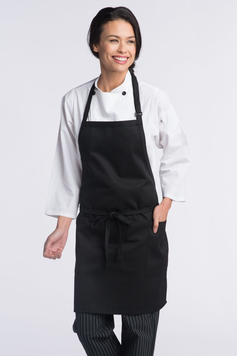 Black Bib Adjustable Apron (2 Patch Pockets)