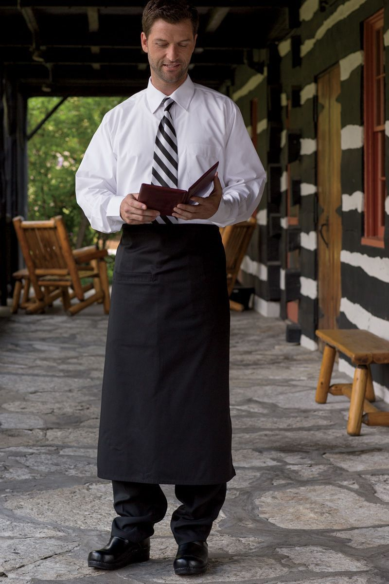 Black Full Bistro Apron (1 Inset Pocket)