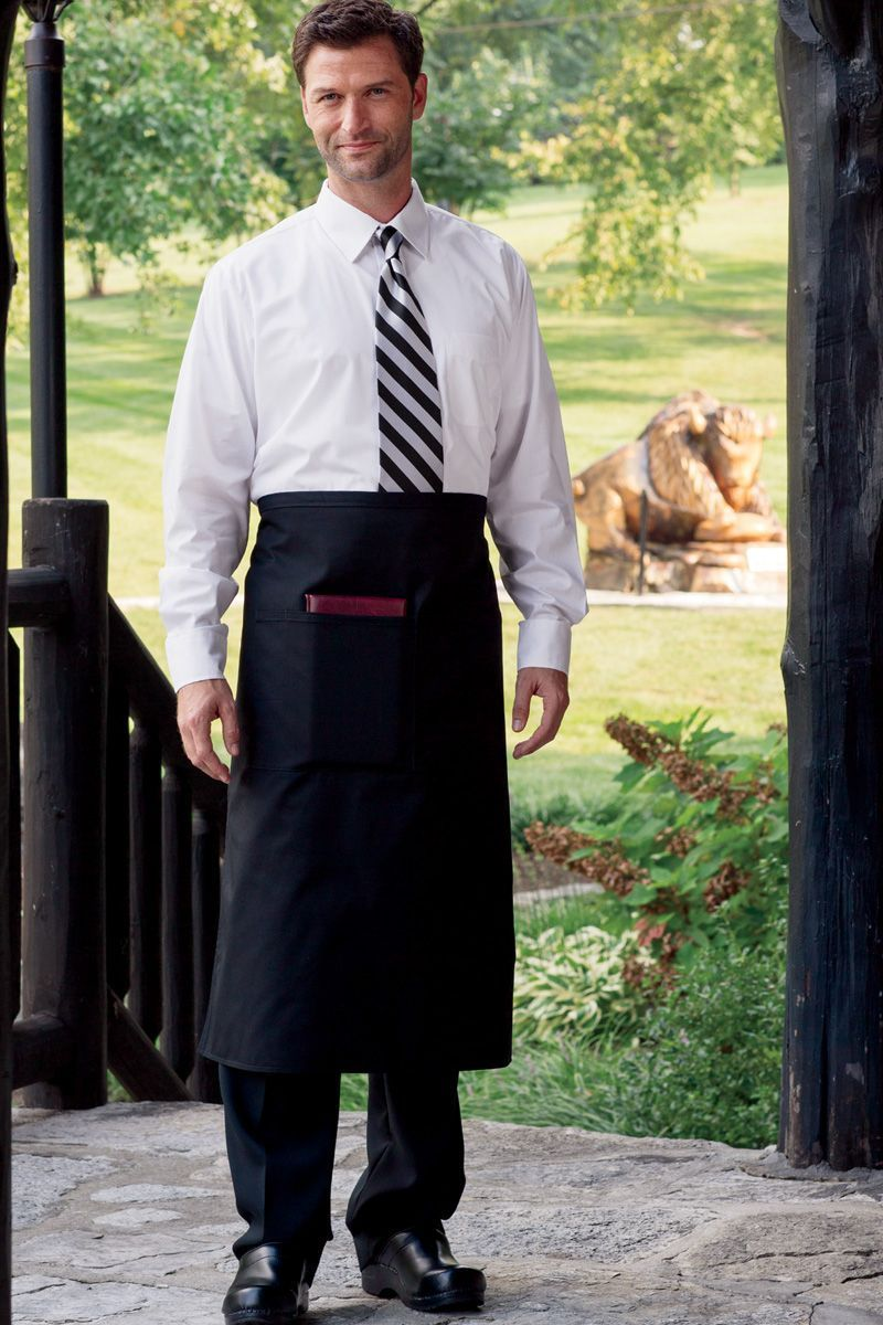 Black Reversible Full Bistro Apron (1 Pocket)