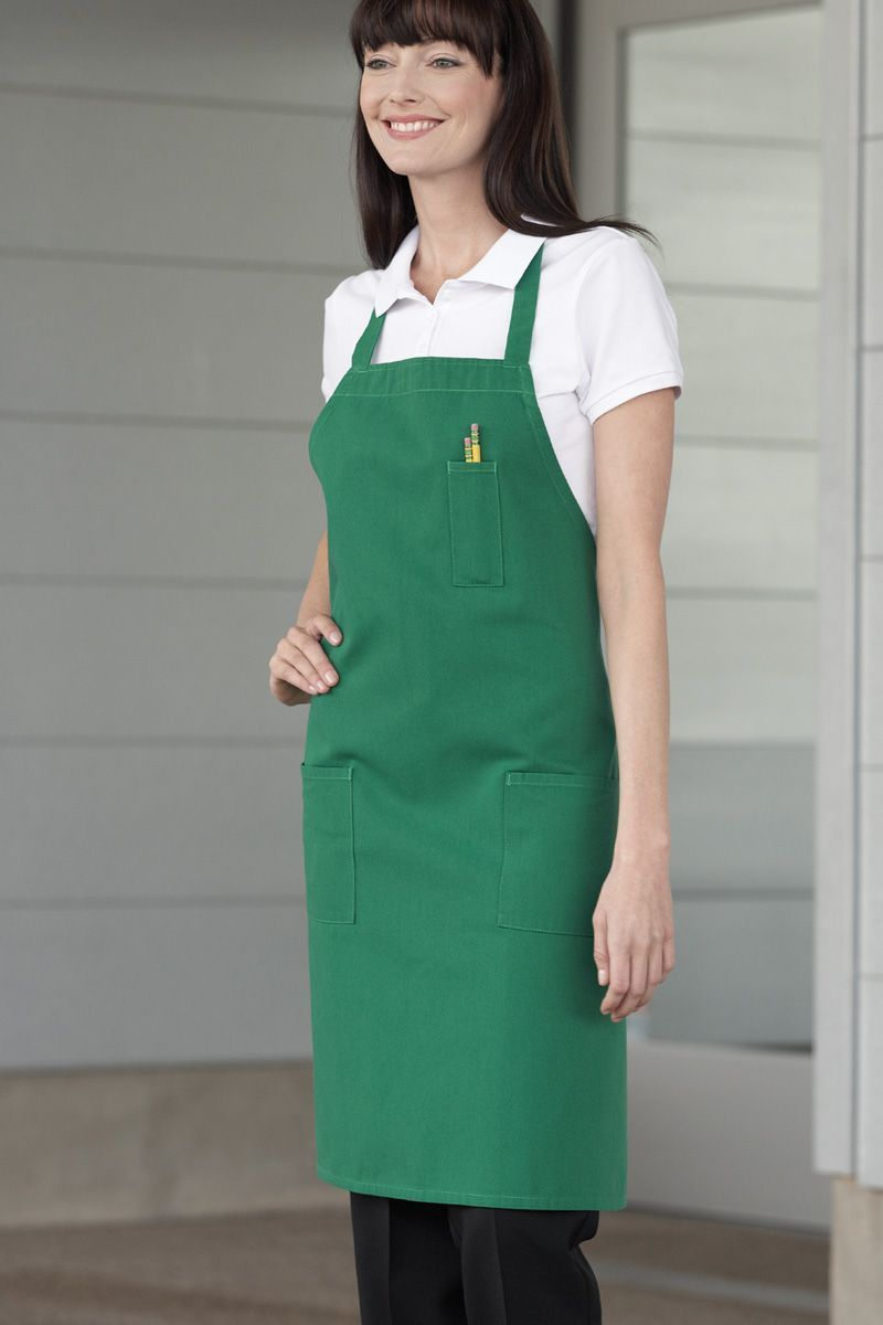 Kelly Green Bib Apron (3 Patch Pockets)