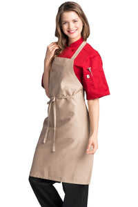 Khaki Bib Apron (No Pockets)