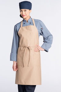 Khaki Bib Apron (3 Patch Pockets)