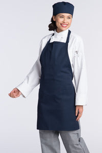Navy Bib Adjustable Apron (2 Patch Pockets)
