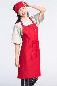 Red Bib Apron (3 Patch Pockets)