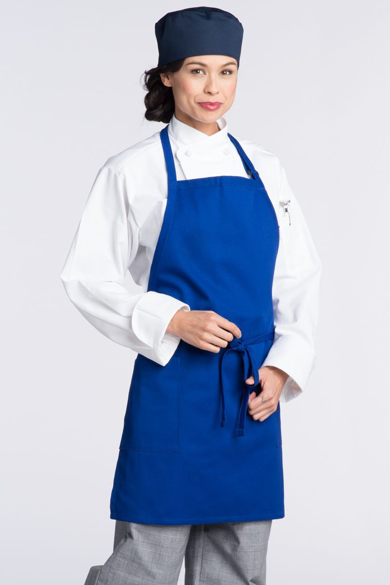 Royal Blue Bib Adjustable Apron (2 Patch Pockets)