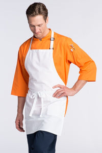 White Bib Adjustable Apron (2 Patch Pockets)