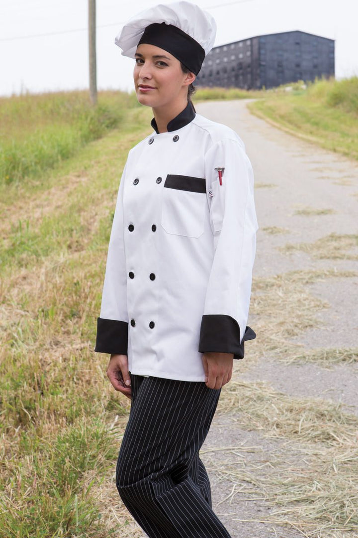 White With Black Trim Newport Chef Coat