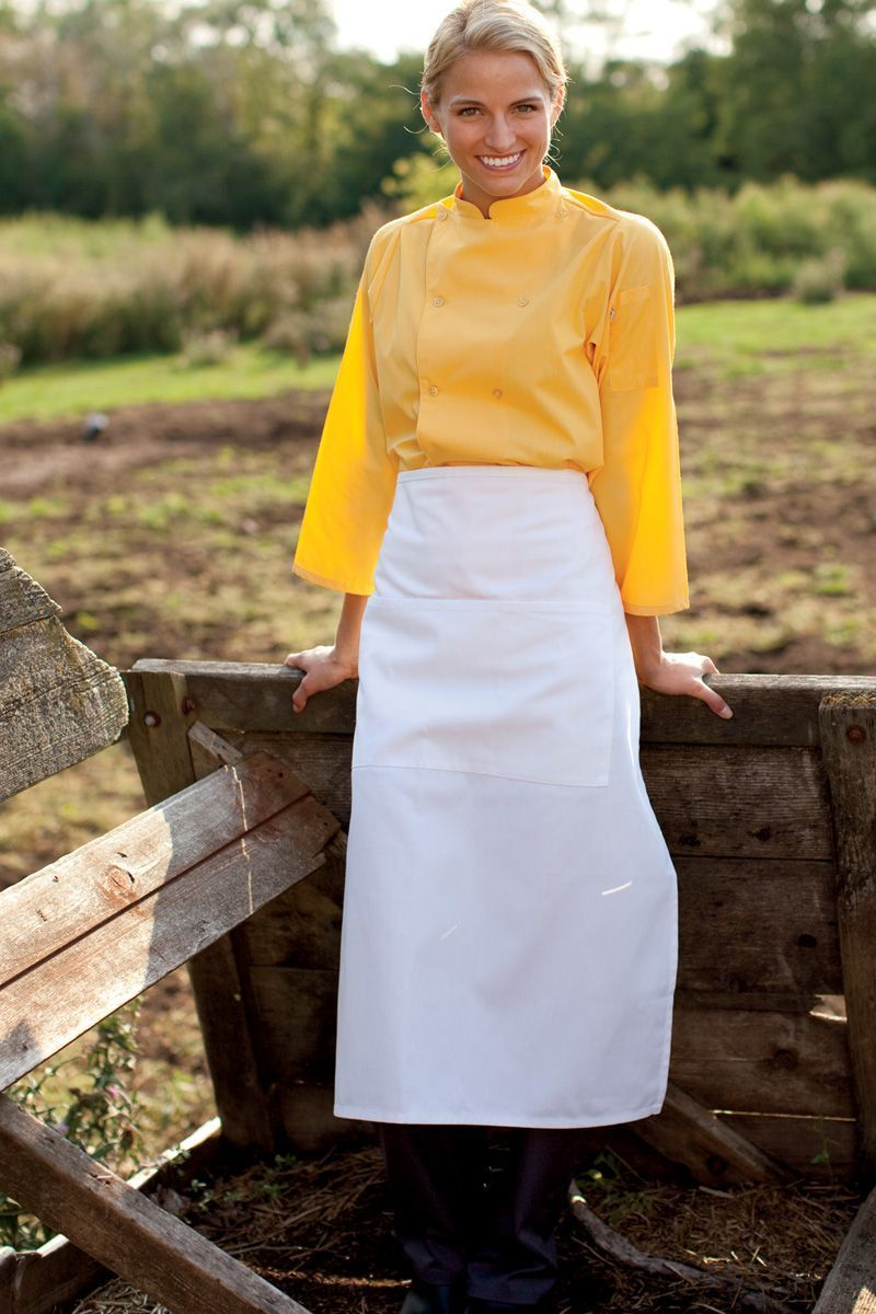 White Full Bistro Apron (3 Pockets)