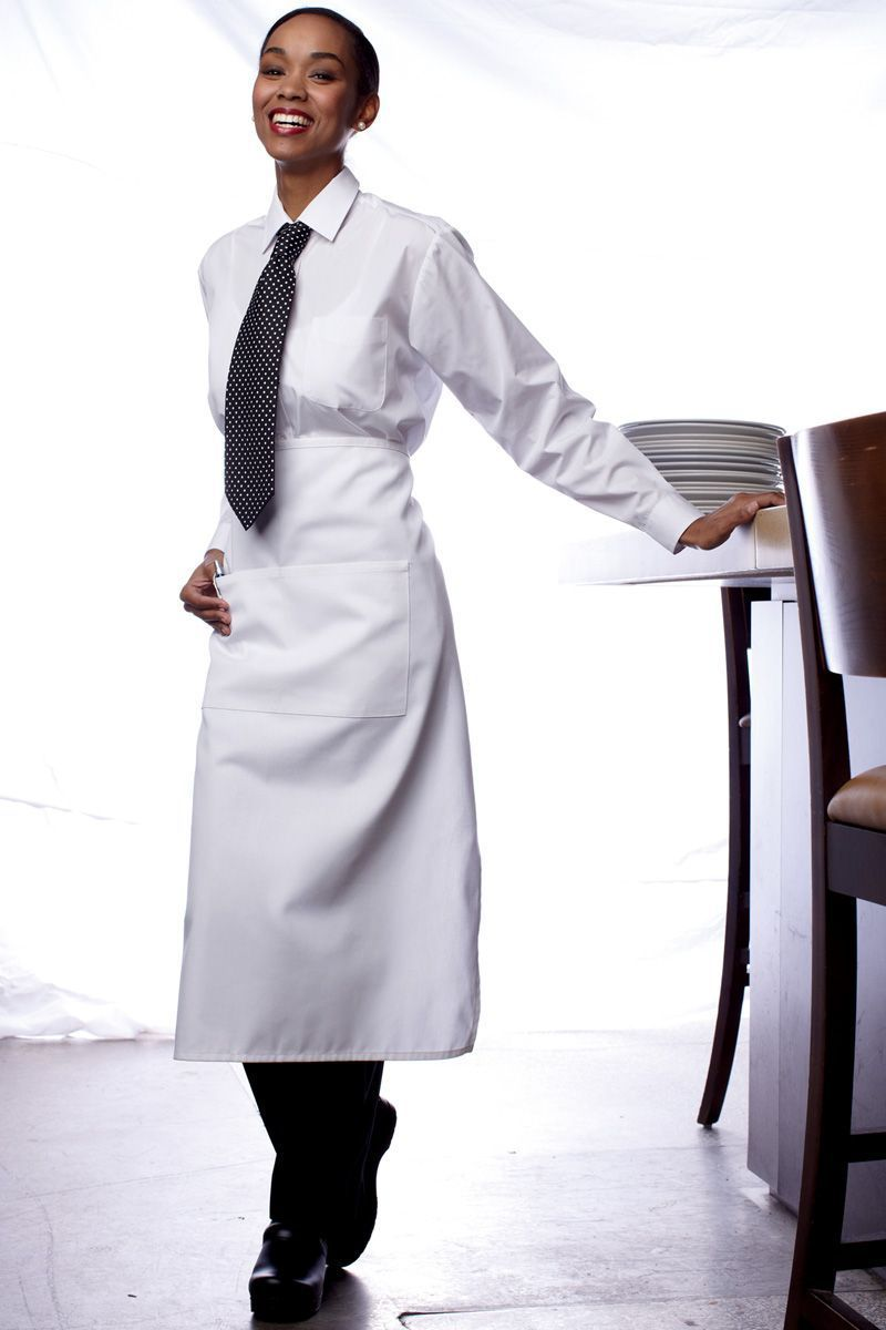 White Full Bistro Apron (2 Pockets)