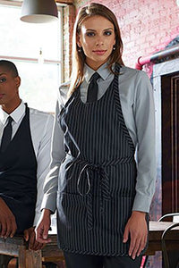 Pinstripe Scoop Neck Bib Adjustable Apron (3 Pockets)