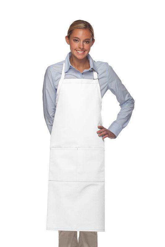 White 2 Pocket Adjustable XL Butcher Apron
