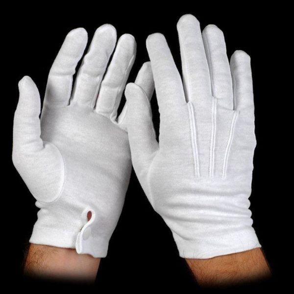 White Cotton Housekeeping Gloves With Snap