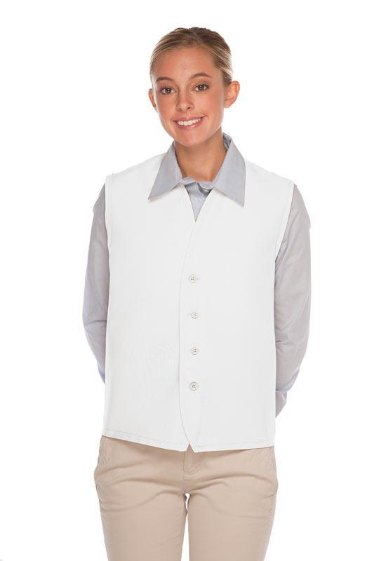 White 4-Button Unisex Vest with No Pockets