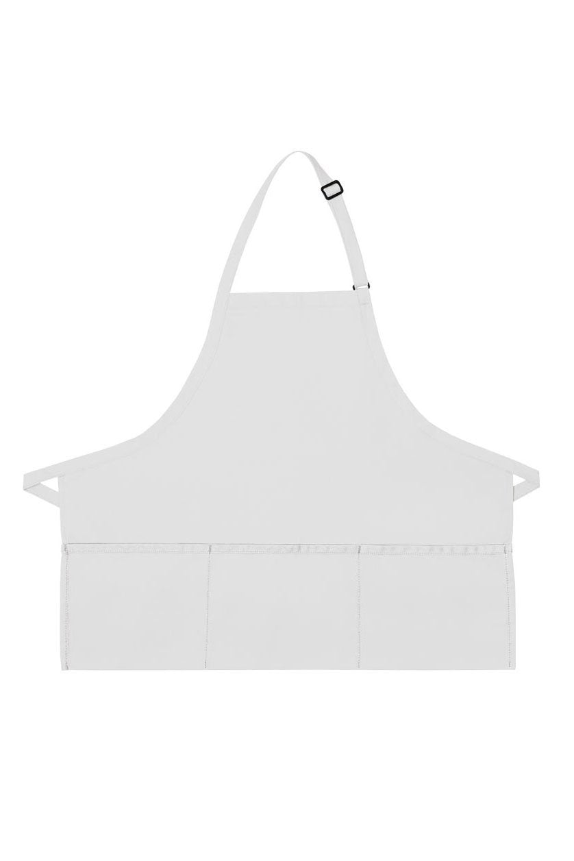 White Deluxe Bib XL Adjustable Apron (3 Pockets)