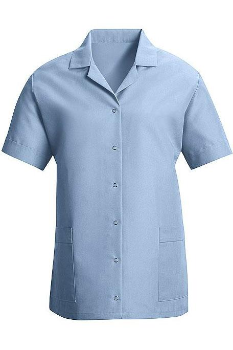 Light Blue Women's Smock Loose Fit Short Sleeve Gripper Front