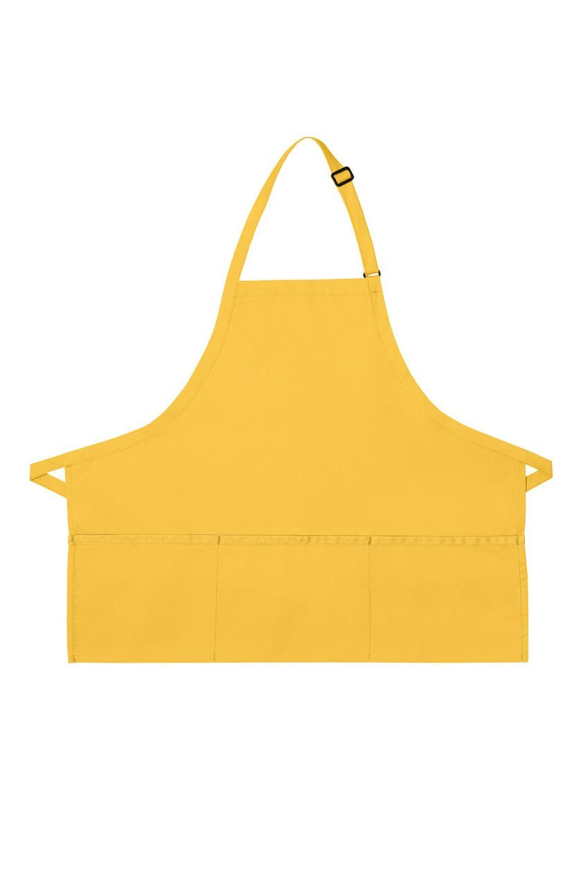 Yellow Deluxe Bib XL Adjustable Apron (3 Pockets)