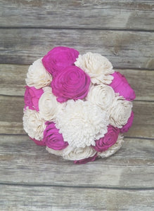 PRE-MADE BOUQUET - Raw with Magenta Flowers