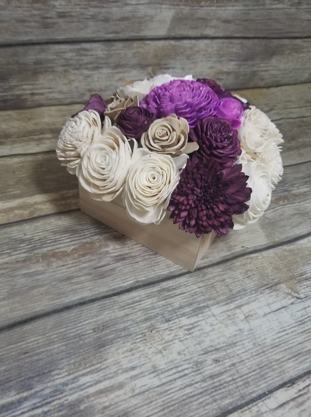 Pre-Made Centerpiece -  Raw/Bark/Light Purple/ Deep Wine