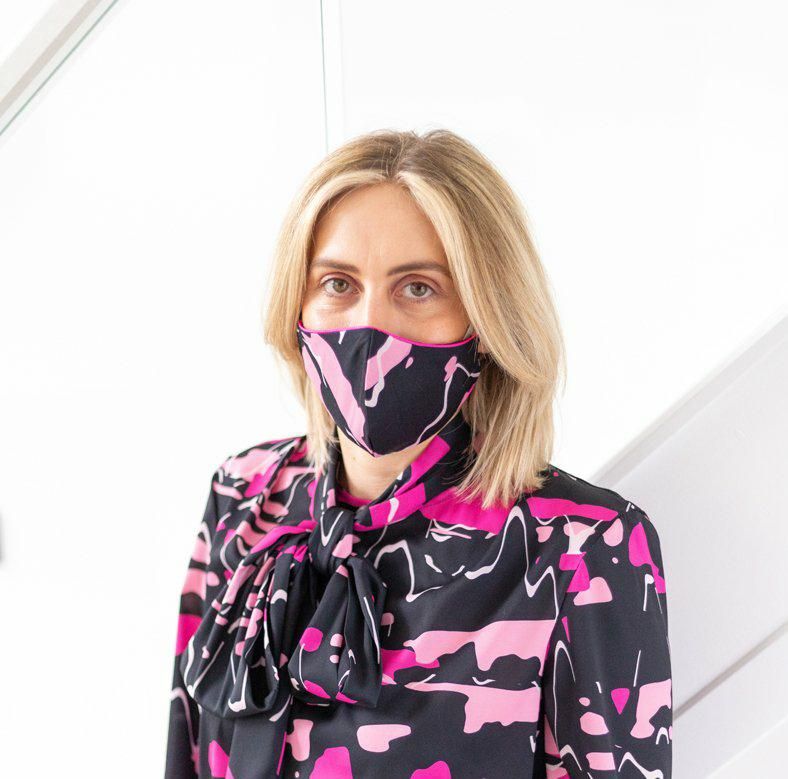 'Amanda' Pink Printed Face Mask