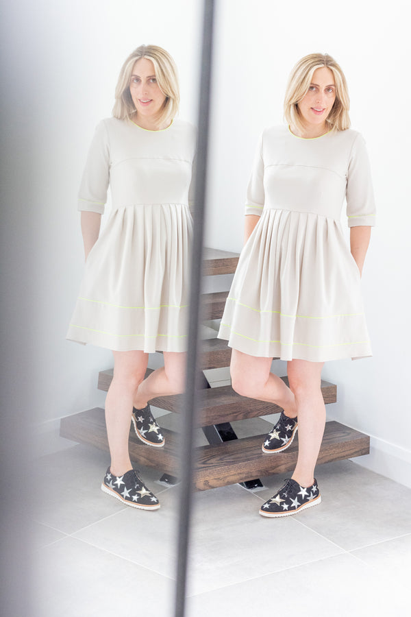 Clara Dress in Beige with Neon Piping