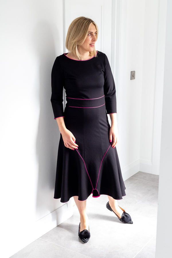 Esme Dress in Black with Hot Pink Piping