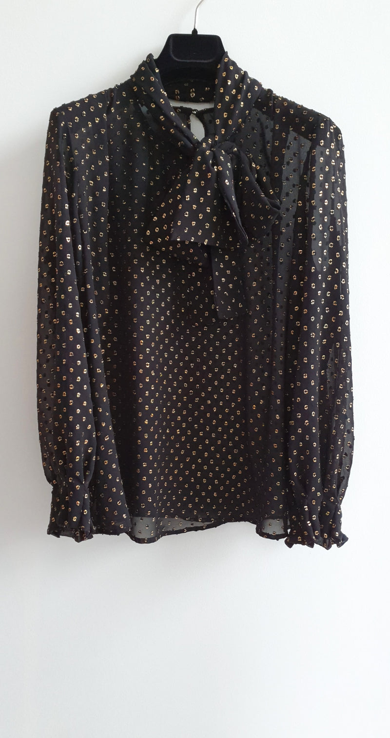 Freya Blouse Gold Dot Print