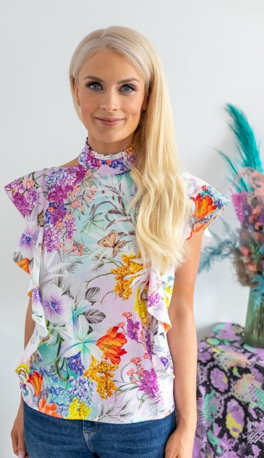 Elianna butterfly printed top