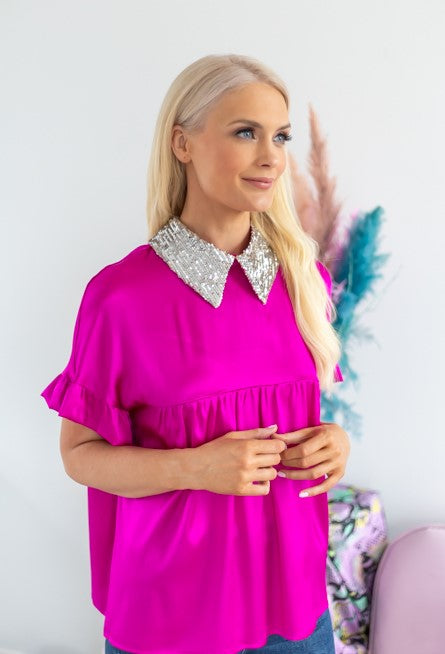 Thea fuschia silk top