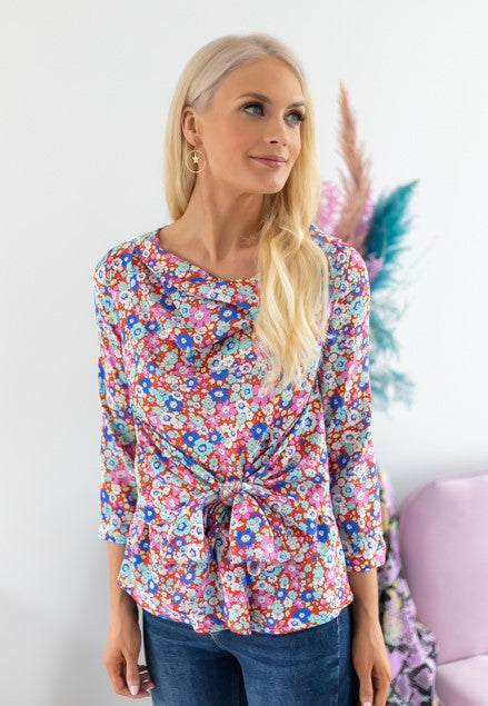 Isla silk floral printed blouse