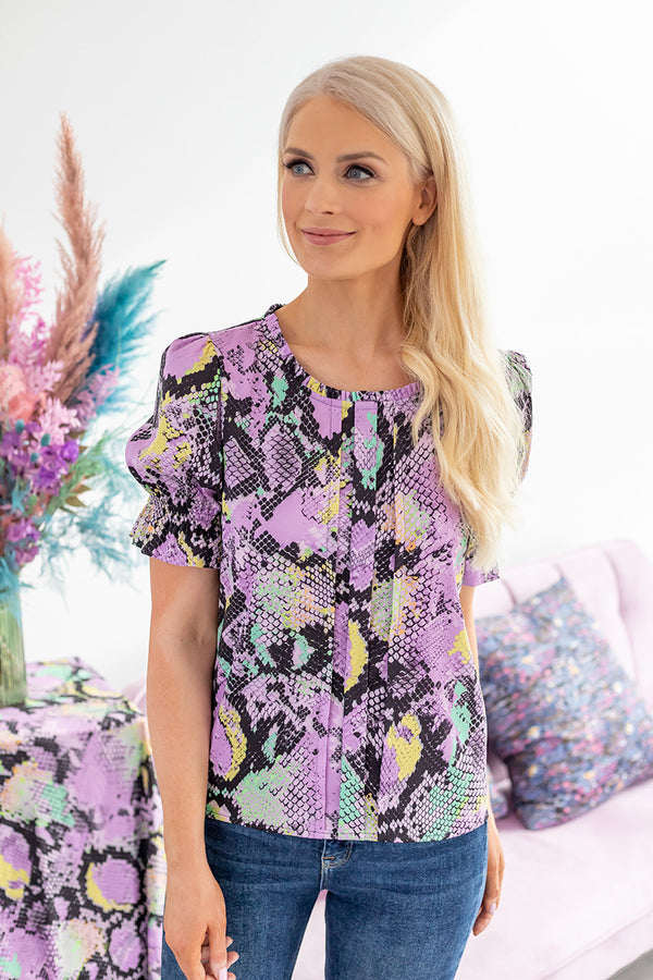 Savannah lilac printed top