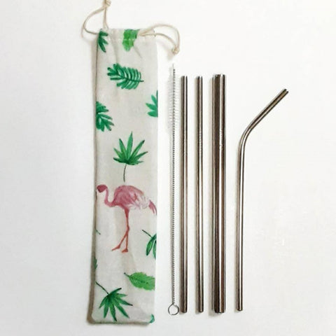 Image of Reusable Stainless Steel Straw Set With Drawstring Pouch - Ecomended
